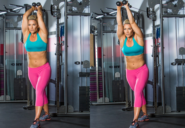Brooke Stacey - Arm workout - Triceps overhead extension with rope - Women's Health and Fitness magazine.