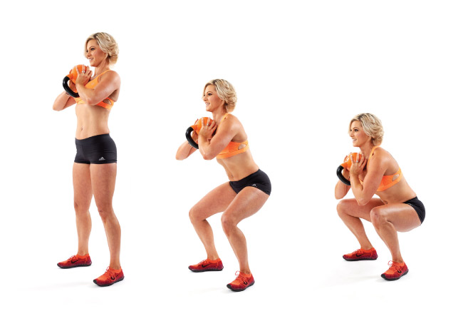 Goblet squat with kettlebell - IMAGE - Women's Health and Fitness magazine