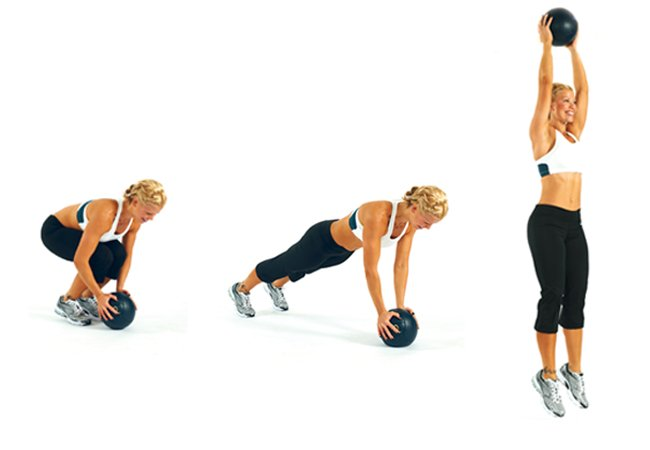 Medicine ball burpees - Full body cardio workout
