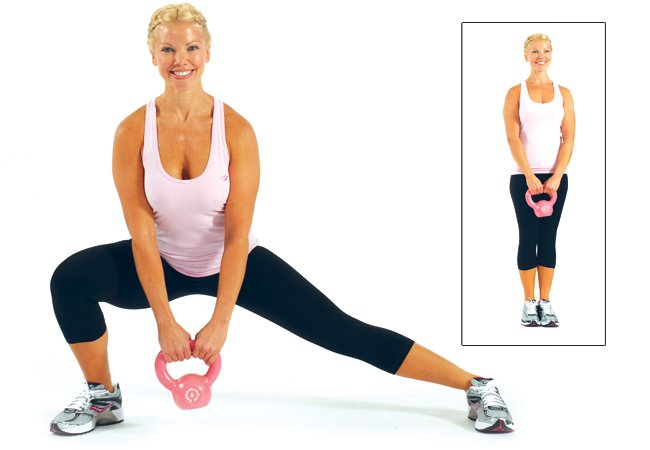 Side lunges with kettlebell - Women's Health & Fitness
