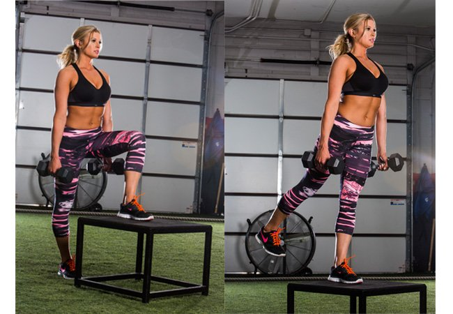 Butt thigh workout - circuit 1 - Dumbbell step-ups with kickback
